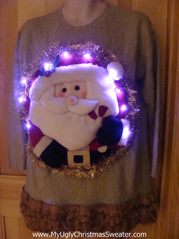 Tacky 3D Ugly Christmas Sweater Puffy Santa with Lights and Fringe (A18)