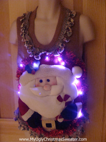 Tacky 3D Ugly Christmas Sweater Vest Puffy Santa with Lights and Fringe (A19)