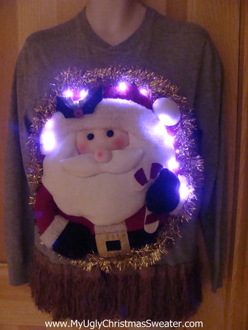 Tacky 3D Ugly Christmas Sweater Mens Puffy Santa with Lights and Fringe (A1)