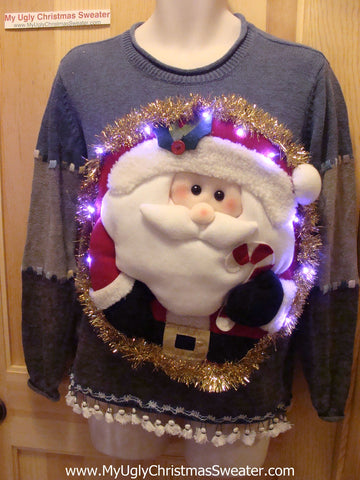 Tacky 3D Ugly Christmas Sweater Puffy Santa with Lights and Fringe (A20)
