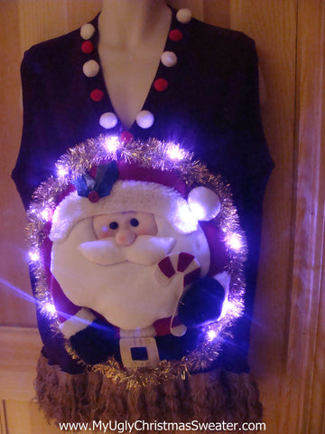 Tacky 3D Ugly Christmas Sweater Vest Mens Puffy Santa with Lights and Fringe (A21)