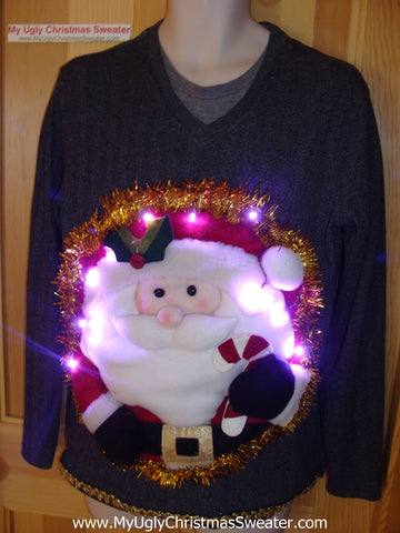 Tacky 3D Ugly Christmas Sweater Mens Puffy Santa with Lights (A22)