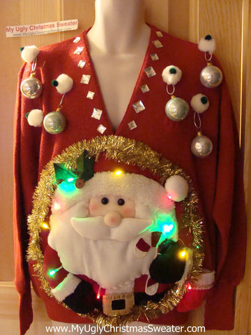 Tacky 3D Ugly Christmas Sweater Mens Puffy Santa with Lights (A23)