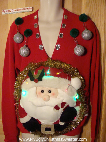 Tacky 3D Ugly Christmas Sweater Mens Puffy Santa with Lights (A24)