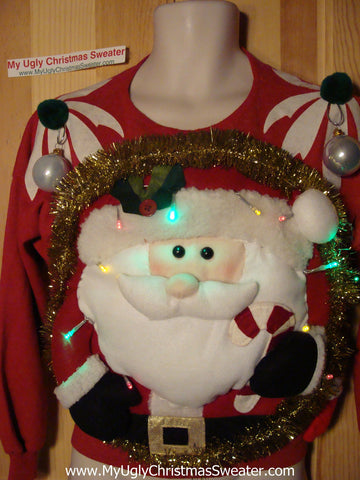 Tacky 3D Ugly Tropical Christmas Sweater Puffy Santa with Lights (A26)