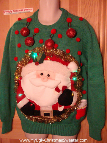 Tacky 3D Ugly Christmas Sweater Mens Puffy Santa with Lights and Ornaments (A27)