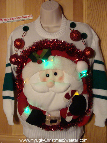 Tacky 3D Ugly Christmas Sweater Puffy Santa with Lights  (A29)