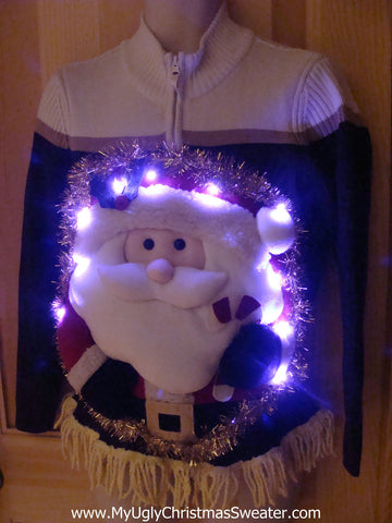 Tacky 3D Ugly Christmas Sweater Puffy Santa with Lights and Fringe (A2)