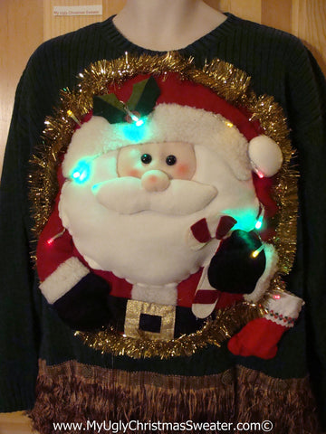 Tacky 3D Ugly Christmas Sweater Mens XXL Puffy Santa with Lights and Fringe (A33)