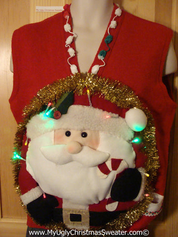 Tacky 3D Ugly Christmas Sweater Vest Mens Puffy Santa with Lights (A34)