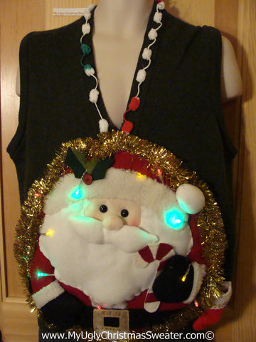 Tacky 3D Ugly Christmas Sweater Vest Mens Puffy Santa with Lights (A35)