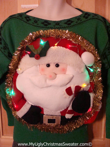 Tacky 3D Ugly Christmas Vintage Green Sweater Puffy Santa with Lights (A36)