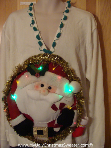 Tacky 3D Ugly Christmas Sweater XXL Mens Puffy Santa with Lights (A37)