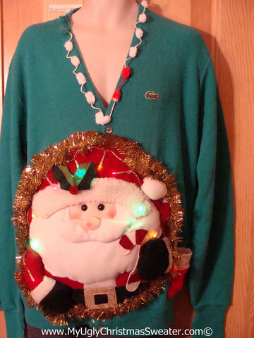 Tacky 3D Ugly Christmas Sweater Mens Puffy Santa with Lights  (A38)