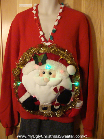 Tacky 3D Ugly Christmas Sweater Mens Puffy Santa with Lights  (A39)