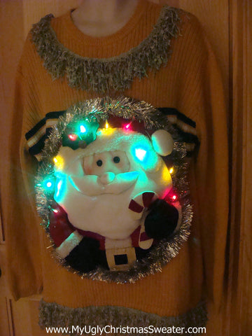Tacky 3D Ugly Christmas Sweater Mens Puffy Santa with Lights and Fringe (A3)