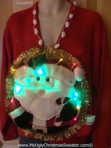 Tacky 3D Ugly Christmas Sweater Mens Puffy Santa with Lights  (A40)