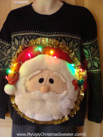 Tacky 3D Ugly Christmas Sweater Puffy Santa with Lights  (A41)