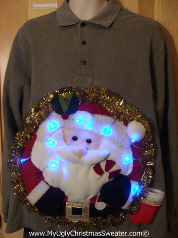 Tacky 3D Ugly Christmas Sweater XXL Mens Puffy Santa with Lights and Fringe (A43)