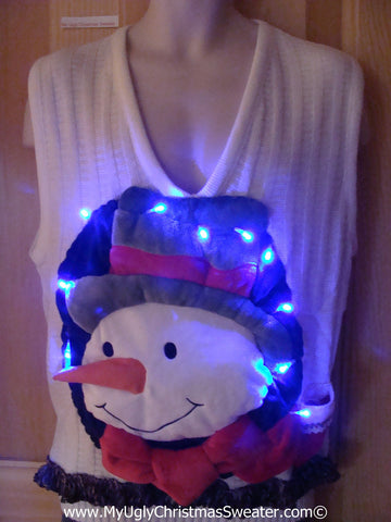 Tacky 3D Ugly Christmas Sweater Vest Mens Puffy Frosty with Lights and Fringe (A45)