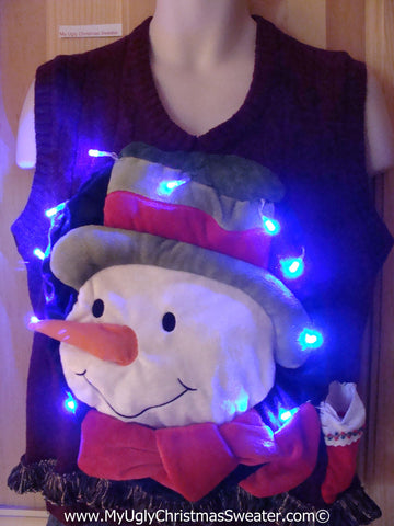 Tacky 3D Ugly Christmas Sweater Vest Mens Puffy Frosty with Lights and Fringe (A46)