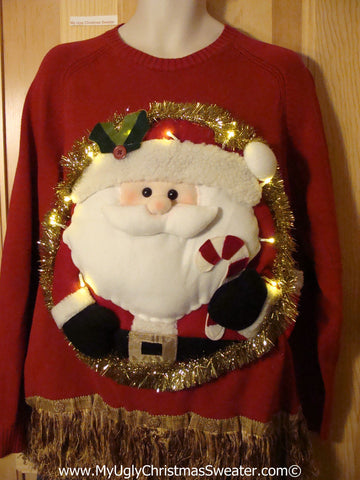 Tacky 3D Ugly Christmas Sweater XXL Mens Puffy Santa with Lights and Fringe (A48)