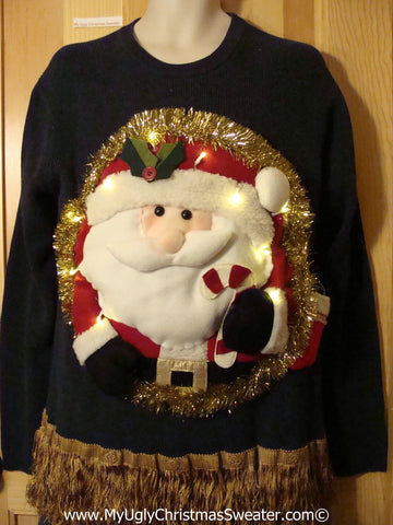 Tacky 3D Ugly Christmas Sweater Mens Puffy Santa with Lights and Fringe (A49)
