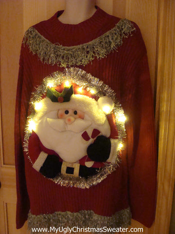 Tacky 3D Ugly Christmas Sweater Mens Puffy Santa with Lights and Fringe (A4)