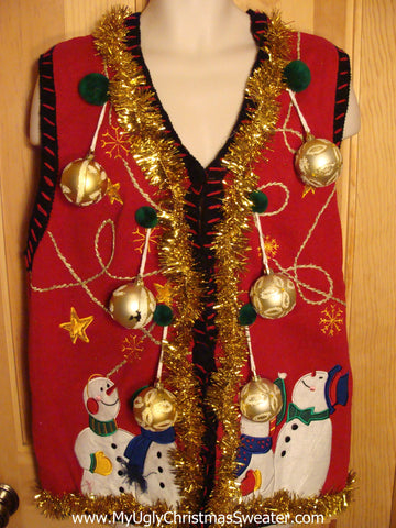 Red Christmas Sweater Vest with Ornaments
