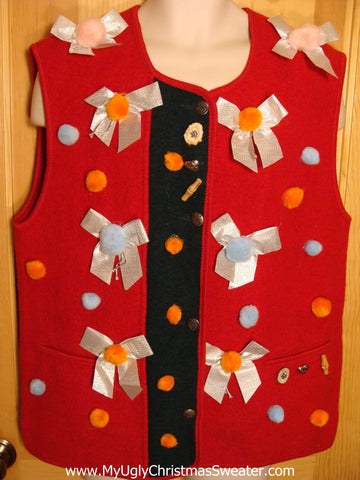 Red Christmas Sweater Vest with Bows