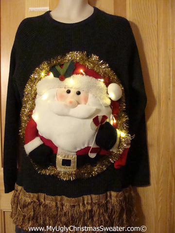 Tacky 3D Ugly Christmas Sweater Mens Puffy Santa with Lights and Fringe (A50)