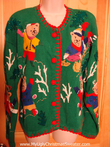 Green 80s Bears Christmas Sweater