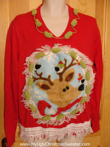 Mens Christmas Sweater with Fluffy Reindeer