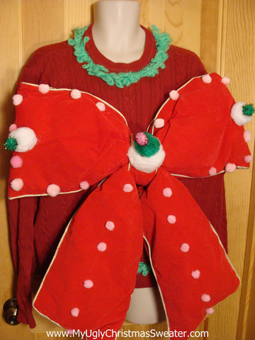 Contest Mens Christmas Sweater with Huge Bow
