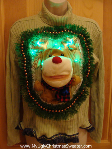 Christmas Sweater with 3D Light Up Reindeer