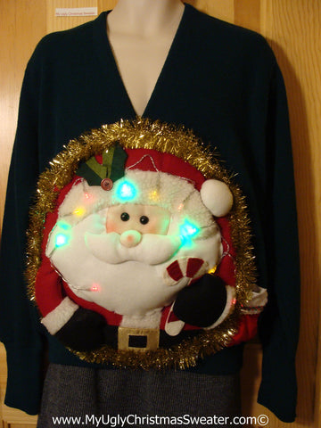 Tacky 3D Ugly Christmas Sweater Mens Puffy Santa with Lights (A51)