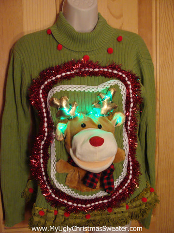 Reindeer Christmas Sweater with Lights