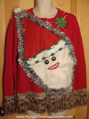 Red Christmas Sweater with Fluffy Santa