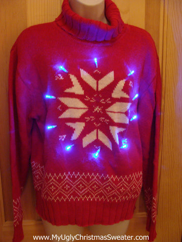 Red Christmas Sweater with Lights
