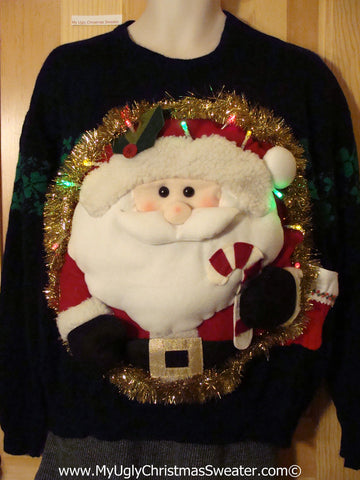 Tacky 3D Ugly Christmas Sweater Mens Puffy Santa with Lights. Irish Shamrocks too! (A52)