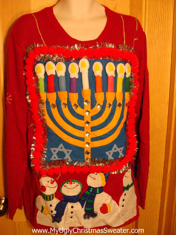 Red Hanukkah Sweater with Snowmen