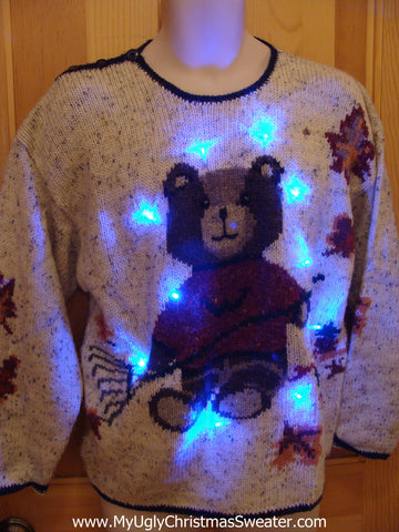 Teddy Bear with Lights Christmas Sweater
