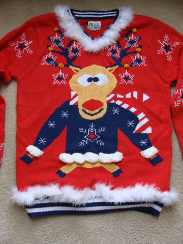 Red Reideer Christmas Sweater with Trim
