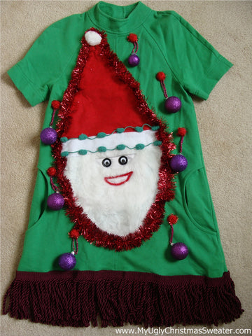Green Christmas Dress with Santa