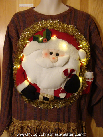 Tacky 3D Ugly Christmas Sweater Mens Puffy Santa with Lights and Fringe (A54)