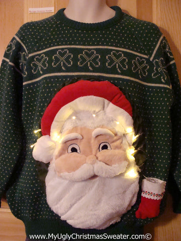 Tacky 3D Ugly Christmas Irish Shamrocks Sweater Mens Puffy Santa with Lights (A56)