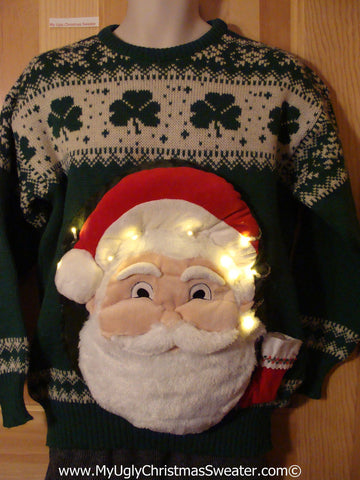 Tacky 3D Ugly Christmas Sweater Mens Puffy Santa with Lights. Irish Shamrocks on front and back.  (A57)