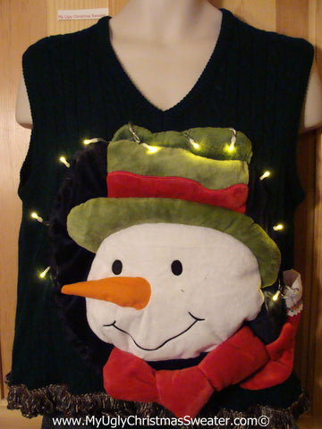 Tacky 3D Ugly Christmas Sweater Vest Mens Puffy Frosty with Lights and Fringe (A59)