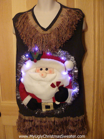 Tacky 3D Ugly Christmas Sweater Vest Mens Puffy Santa with Lights and Fringe (A5)