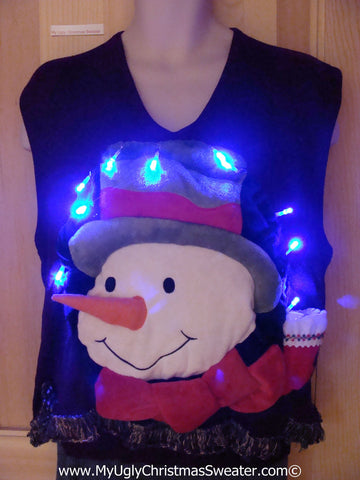 Tacky 3D Ugly Christmas Sweater Vest Mens Puffy Frosty with Lights and Fringe (A60)